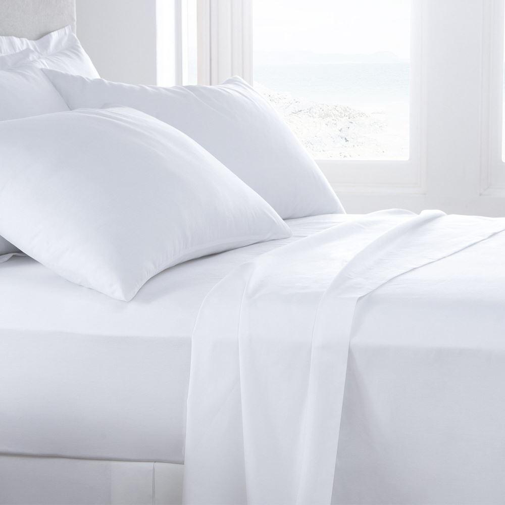 Juego de sábanas blancas 50% algodón 50% poliéster cama de